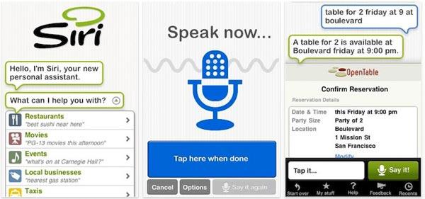 Application Mobiles Siri – Au doigt et à l'oeil